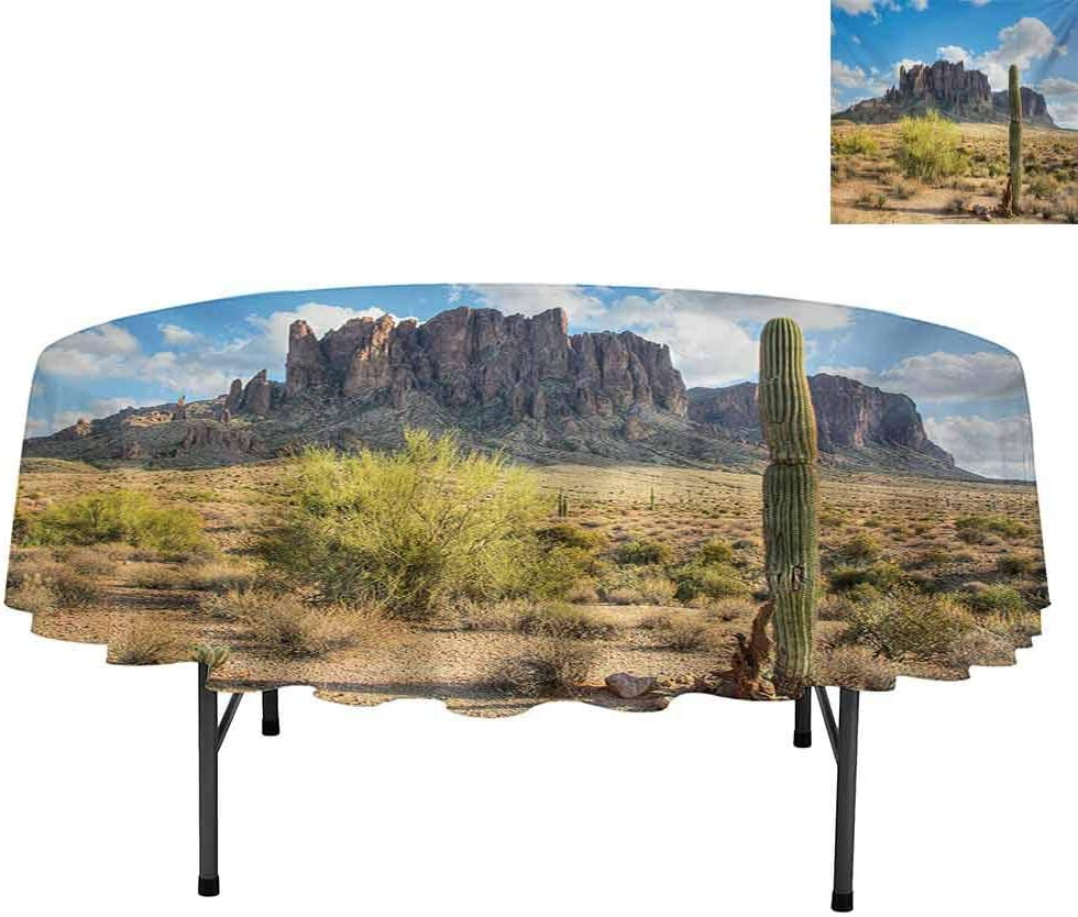 """Aishare Store Round Tablecloth, Famous Canyon Cliff with Dramatic Cloudy Sky Southwest T, Water Resistant Spill Proof Tablecloths for Dining, Round 54"""", Brown Green Blue"""
