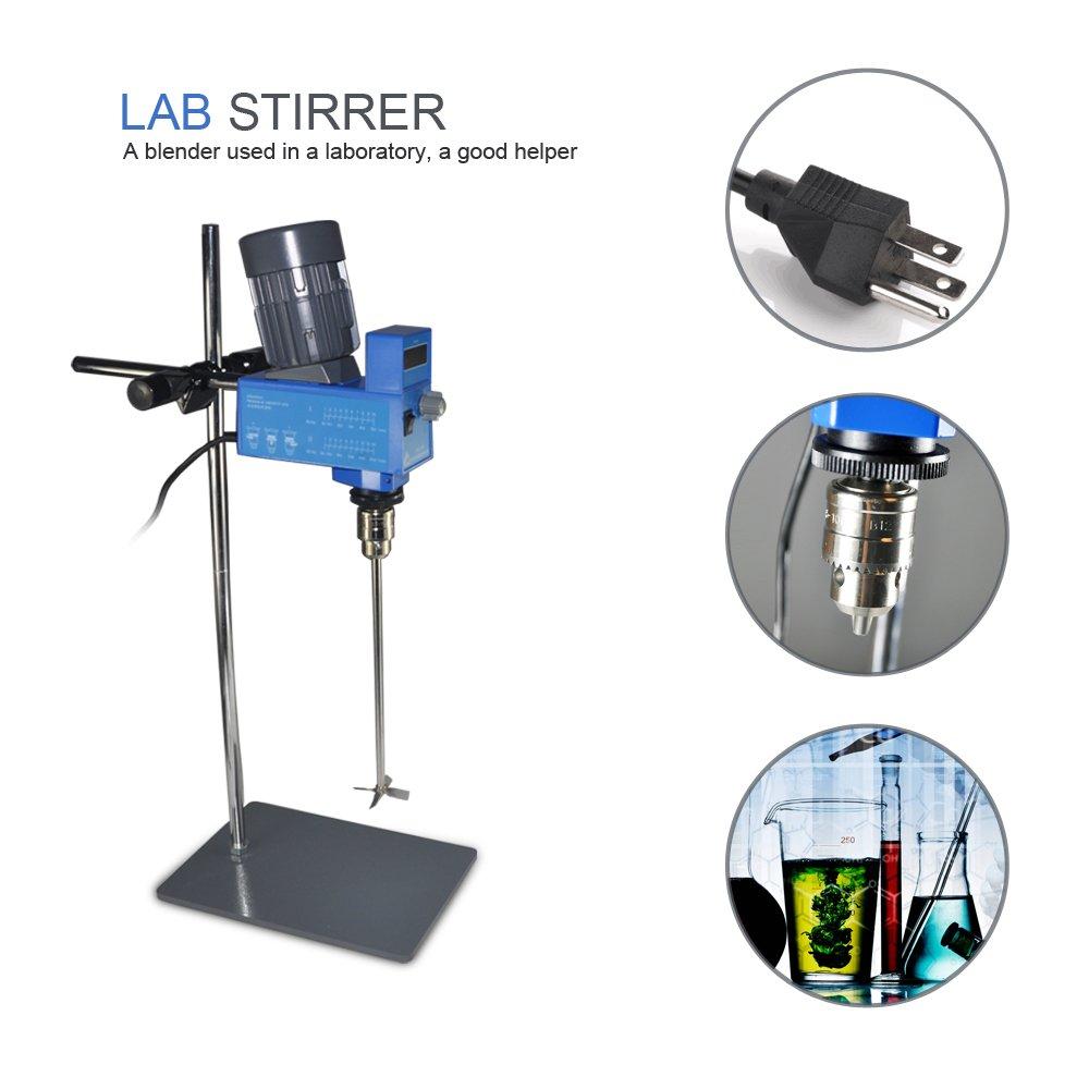 Lab Digital Overhead Stirrer Lab Mixer Heavy Duty Overhead Laboratory Mixer industrial liquid mixer 0~10000mpas, 20L, 2 Years Warranty by XZBELEC (Image #2)