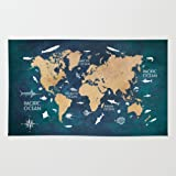 Amazon society6 black and white vintage world map rug 4 x 6 society6 world map oceans life blue rug 4 gumiabroncs Image collections