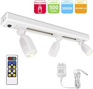 HONWELL Track Lighting LED Spotlights with 3 Rotatable Lights Heads, Under Cabinet Counter Lighting Plug in Accent Lights Remote Controlled Ceiling Track Lights for Wall Picture Artwork Display