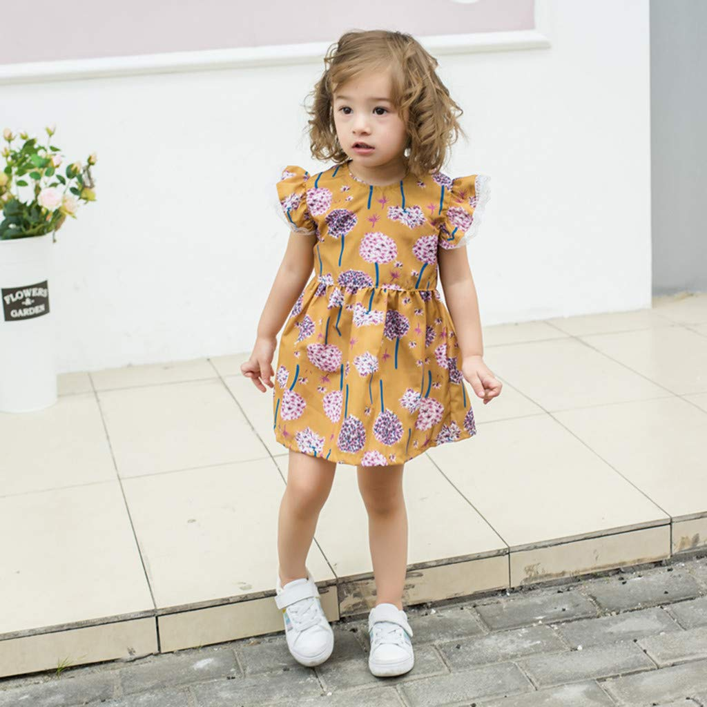 Baby Kids Girls Lace Fruit Print Skirt Princess Dresses Casual Clothes WOCACHI Toddler Baby Girls Dresses