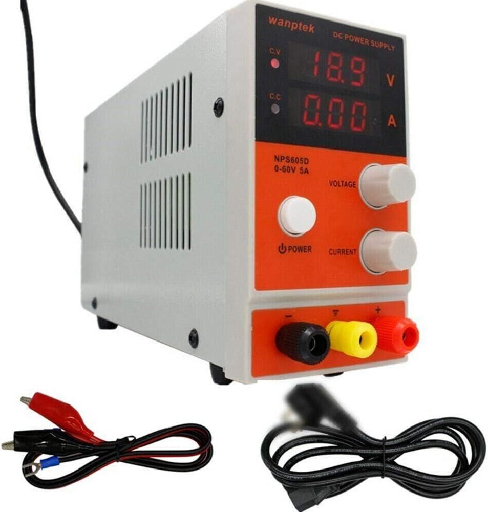 Digtal Labornetzger/ät Labornetzteil DC Regelbar 60V 5A Hochpr/äzises 220V NPS605D