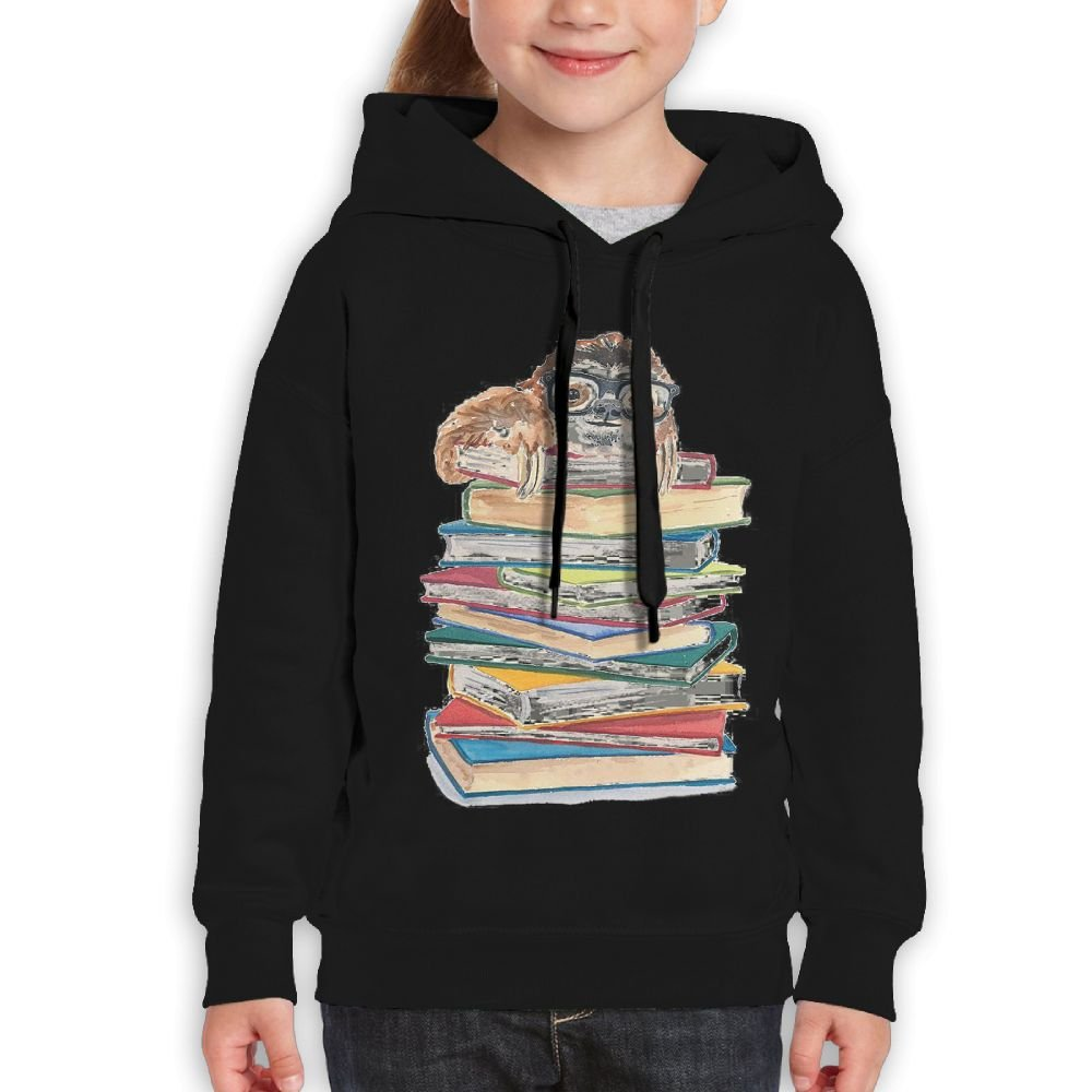 Bdna Teenager Pullover Hoodie Sweatshirt Book Sloth In Glasses Teen's Hooded For Boys Girls