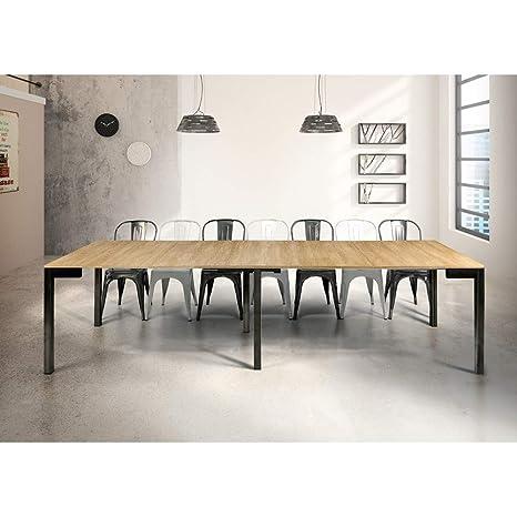 MilaniHome Tavolo da Pranzo Moderno di Design A Consolle Cm 90 X  50/100/150/200/250/300 Struttura Nera Piano Naturale per Sala da Pranzo