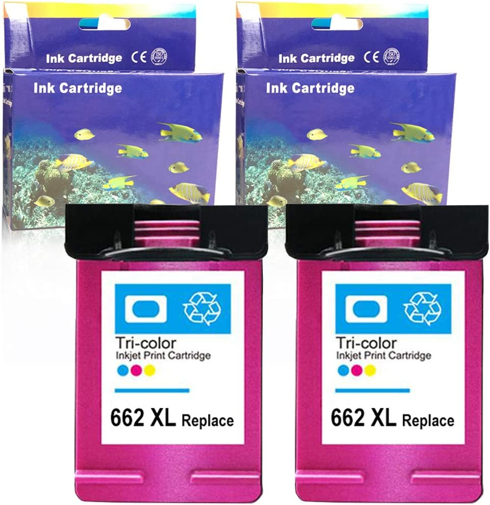 Color, 2 Pack ZET Remanufactured Ink Cartridge Replacement for HP 662XL 662 XL CZ106AL