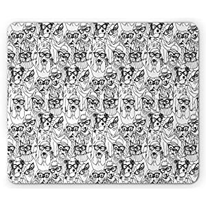 Ambesonne Dog Mouse Pad by, Cute Monochrome Trace Sketch Pugs Bulldog Terrier with Glasses and Hats Hipster Attire, Standard Size Rectangle Non-Slip Rubber Mousepad, Black White