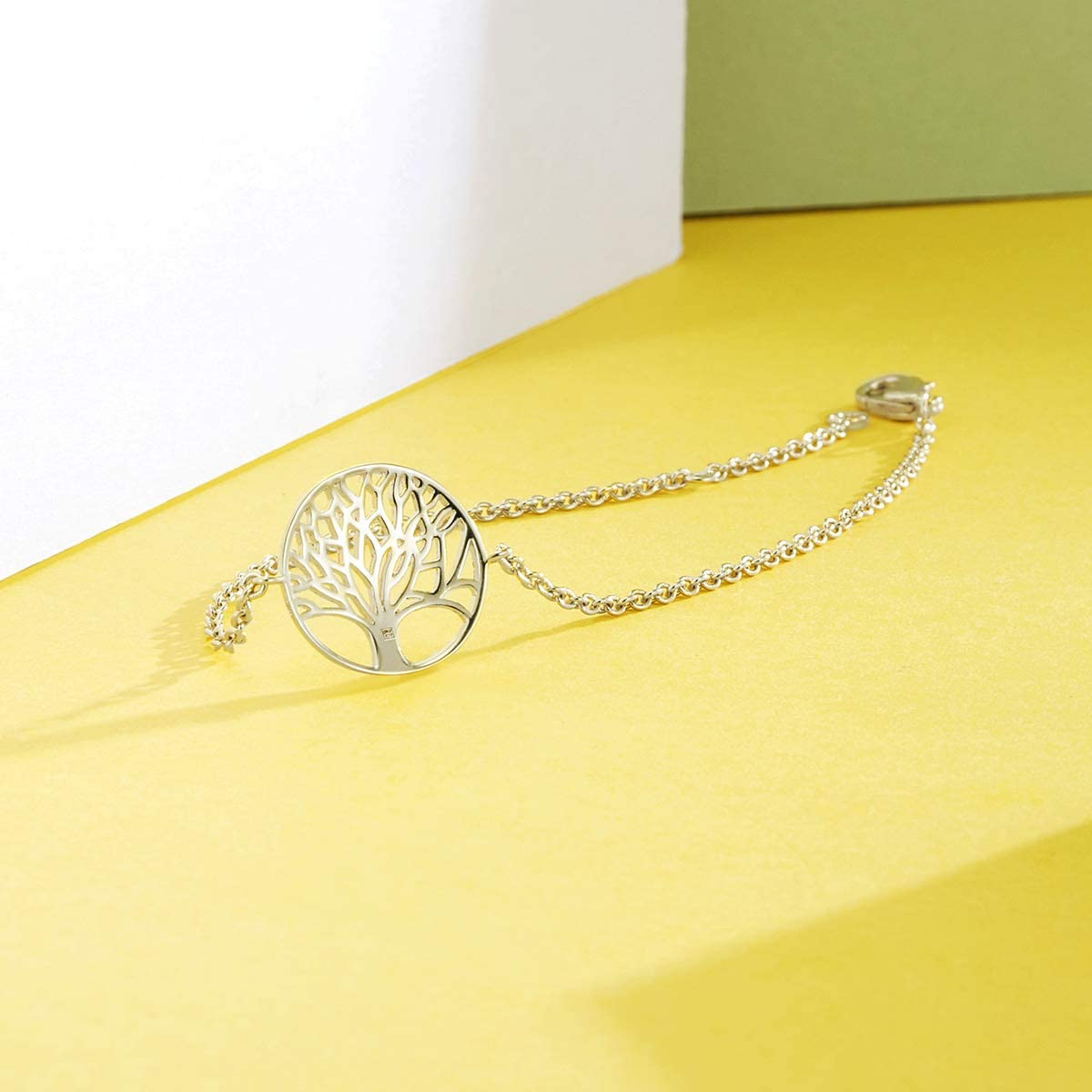 Cha/îne Longueur 17.5 cm Bracelet Femme Arbre de Vie Charm en Argent Sterling 925