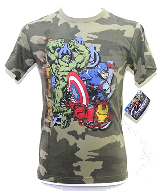2fdffe99fad Camuflaje Marvel Avengers Super Heroes - Camiseta de manga corta para hombre,  talla Small