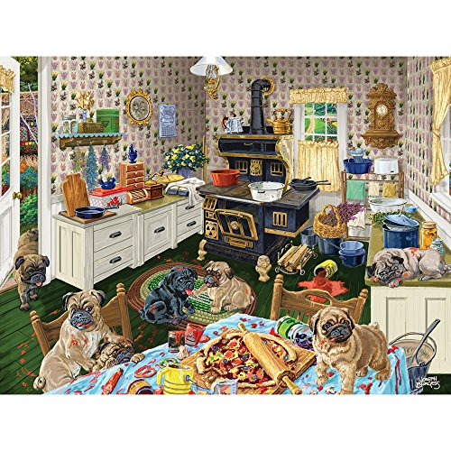 Bits and Pieces - 300 Large Piece Jigsaw Puzzle for Adults - Dog Gone Good Pizza - 300 pc Puppies Eating Pizza Jigsaw by Artist Joseph Burgess