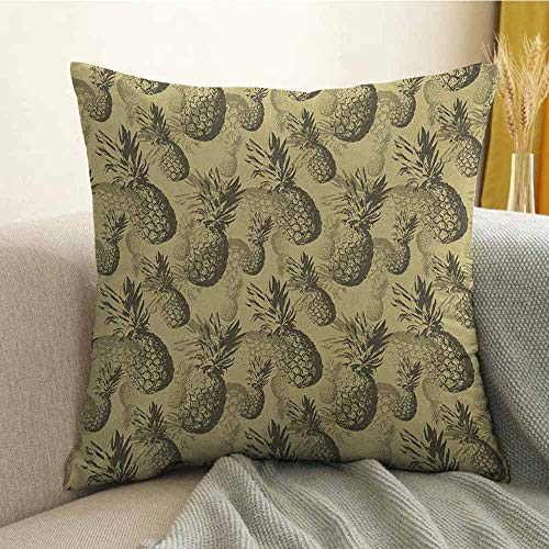 Pineapple Pillowcase Hug Pillowcase Cushion Pillow Botanical Grunge Pattern with Tropical Island Fruits Vintage Effect Anti-Wrinkle Fading Anti-fouling W24 x L24 Inch Pale Brown Dark ()