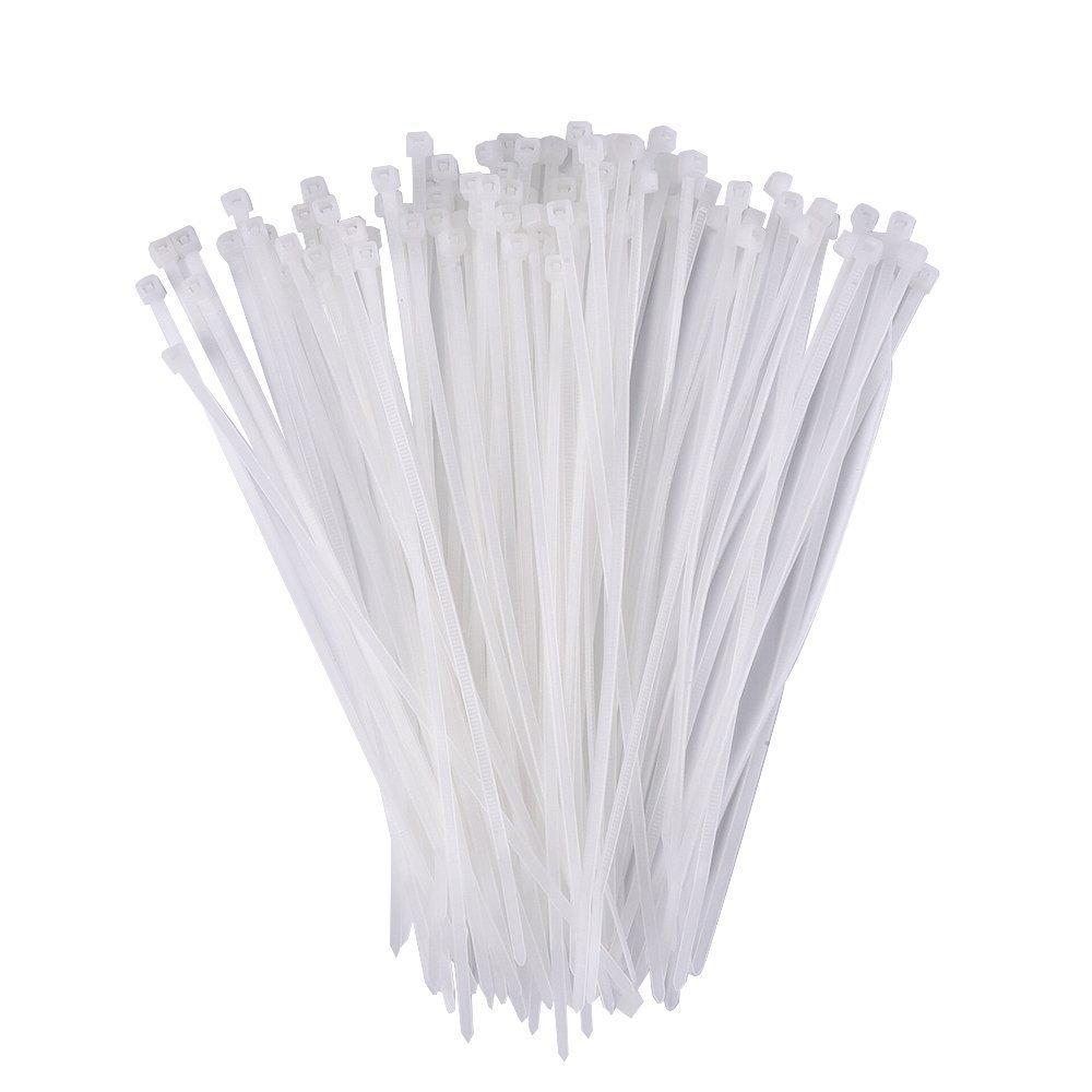 100 Pack 8 Pouce Serres-Câble en Nylon/ Attache Câble/ Collier Serrage en Nylon, Blanc