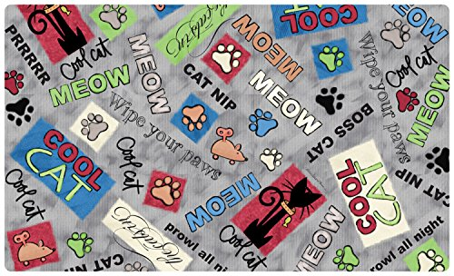 Placemat Drymate (Drymate Cat Bowl Place Mat in Cool Cat, 12 by 20-Inch, Grey)