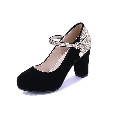 MEI&S Women's Bout Rond Talon Haut Bloc Bouche Peu Profonde Mariage Prom Chaussures Cour Jaune,Pompes,37
