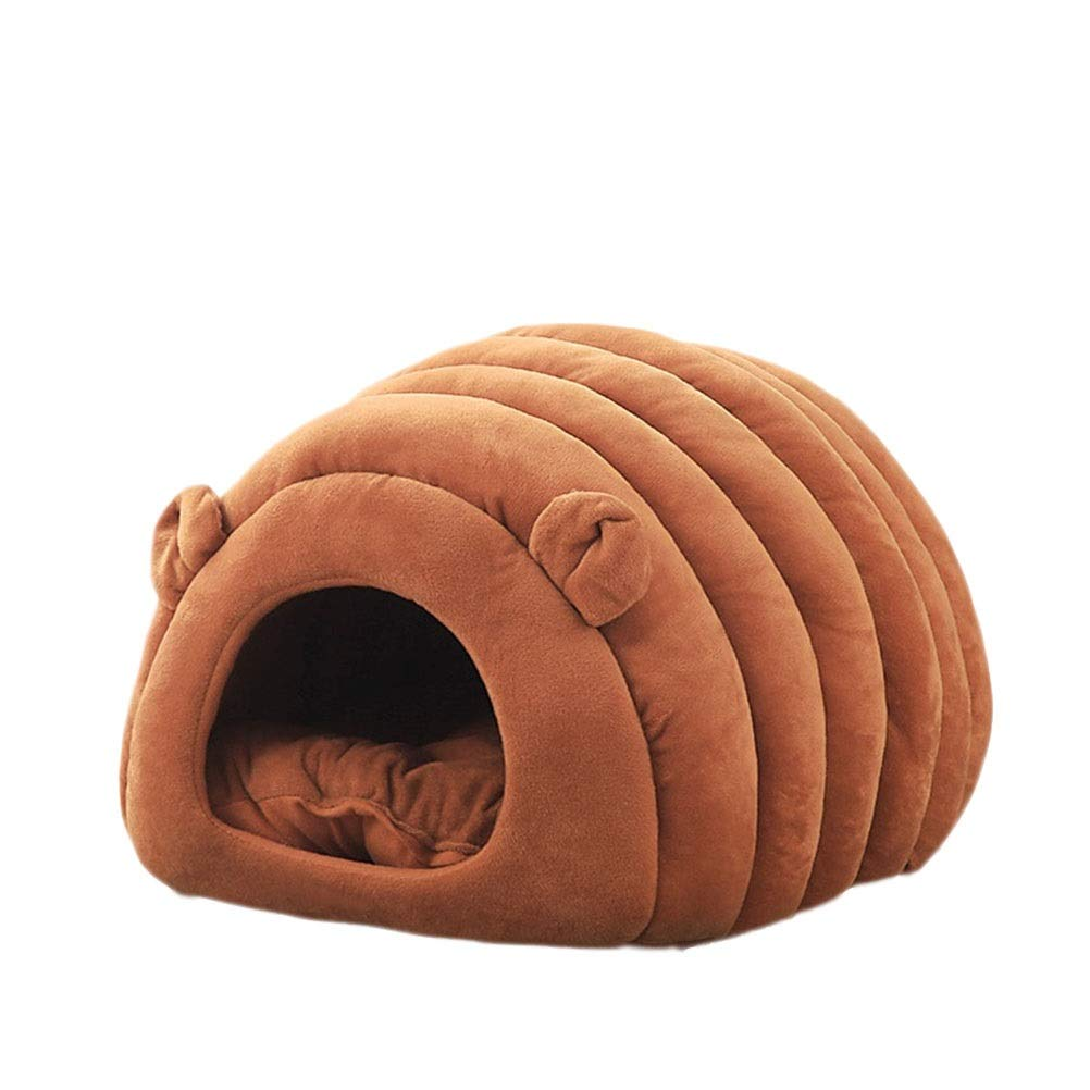 Brown L Brown L Soft and Comfortable Cat Toilet Cat's Home Closed Space Cat mat Cat Supplies PP Cotton Filled Winter Cat's Home Cat's Home Cat Bed Four Seasons Universal (color   Brown, Size   L)