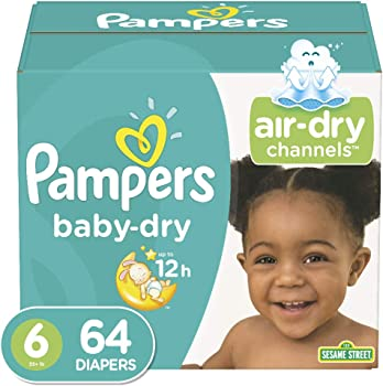 Pampers Baby-Dry Diapers Size 6, 5, 4 or 3