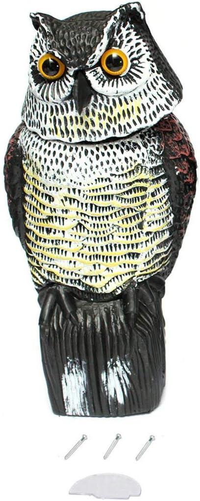 Lorenlli Búho Real señuelo con Cabeza giratoria protección de jardín Repelente de Aves Plaga Scarer Espantapájaros Caza señuelos para Cazador