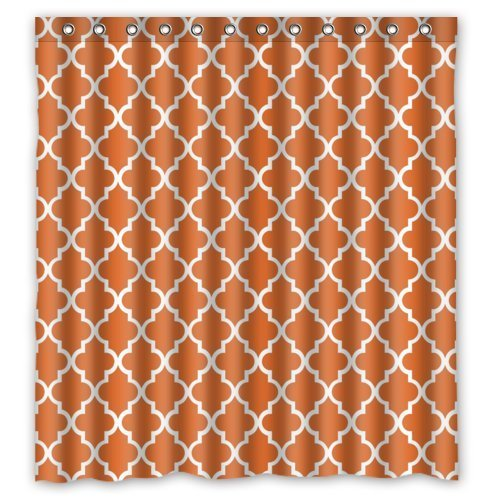 (Friend Boat Window Curtain - Quatrefoil Orange White Lattice with Polyester , Top Thermal Insulated Reflect Sunlights 1 Panel 52