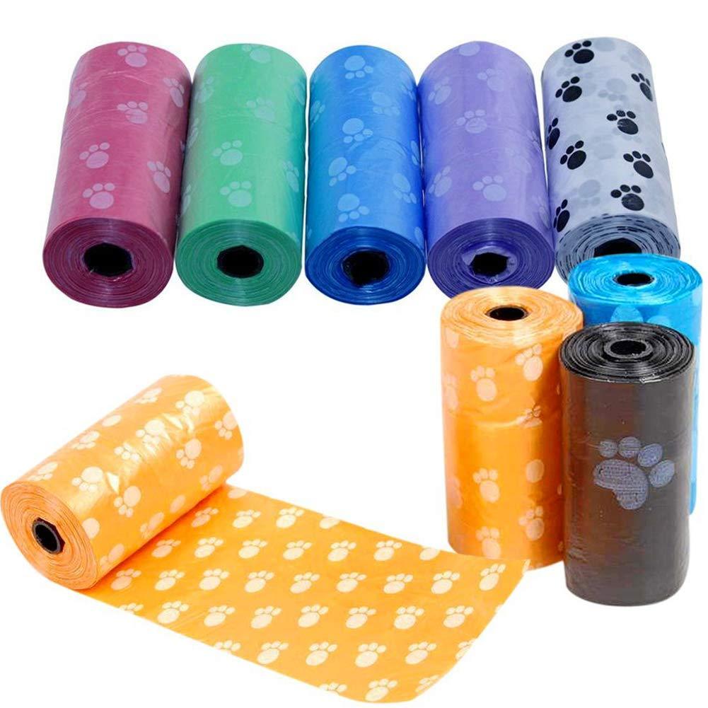Newin Star 5 Rolls Dog Poop Biodegradable Bolsa de Recarga Rolls a Prueba de Fugas Bolsas residuos de Pet Bolsa de Arena para Gatos Favorable al Medio Ambiente Color Aleatorio