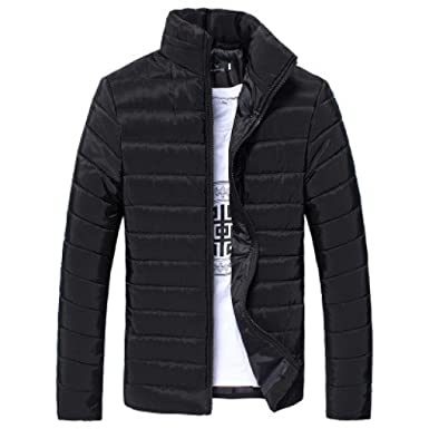Paymenow Men's Winter Thick Coat Quilted Jacket Zipper Warm Padded ... : winter quilted coats - Adamdwight.com