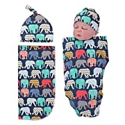Newborn Receiving Blankets Elephant Baby Swaddle Wrap Soft Zoo Animals boy swaddling Blanket (A)