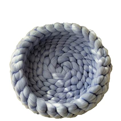 Amazoncom Chunky Crochet Pet Bed Light Blue 12inch Hand Knit Cat