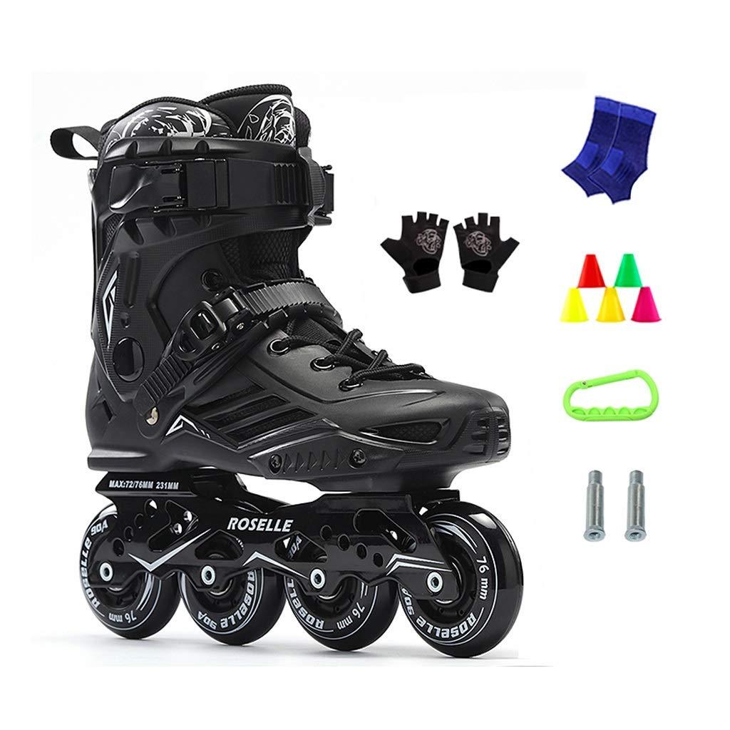 JIANXIN Inline Skates, Men Light Up The Wheel Roller Skates Suitable for Women, Beginner, Youth Skating, Black (Color : B, Size : EU 42)