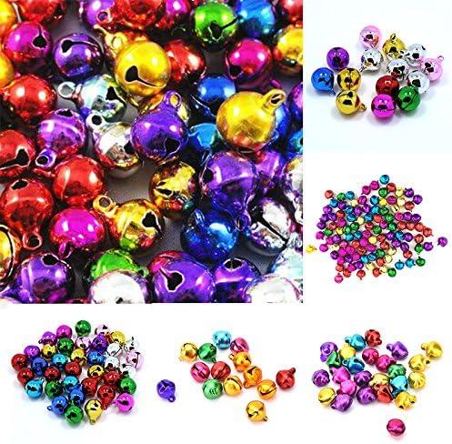 Oyfel Lot de 100 grelots Assortiment de Couleurs Mini clochettes m/étallis/ées Multicolore Petit Jingle Bell Mini You Tinkle Bell Petit No/ël Jingle Bells Perles Breloques Bijoux marquage 10mm