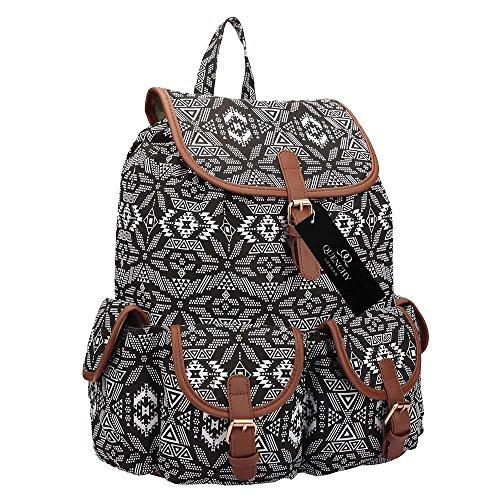 Pockets x COLOURS Luggage amp; 5 School Ladies Rucksack 36cm Canvas 15 Size Closure Hood Casual 18 Backpacks Womens Daypack Black Geometric Backpack 33 Girls Litre 20 Bags x Hand Drawstring Medium qwpZHx1ty