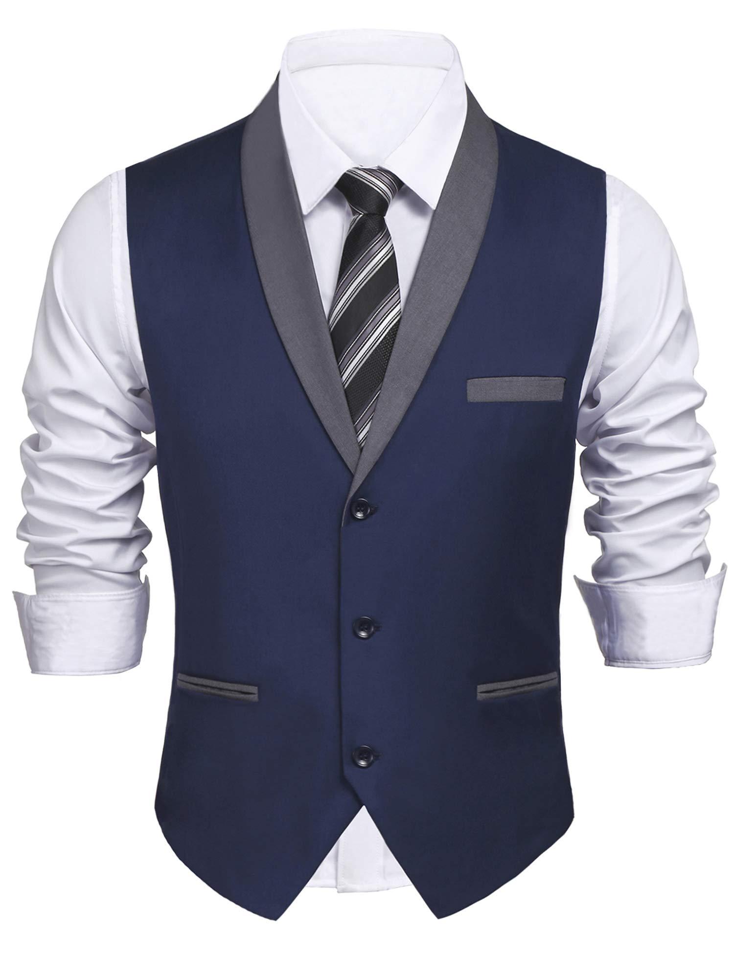 Daupanzees Mens Business Suit Vest Slim Fit 3 Pockets 3 Buttons V-Neck Wedding Sleeveless Button Down Waistcoat (Navy Blue L)