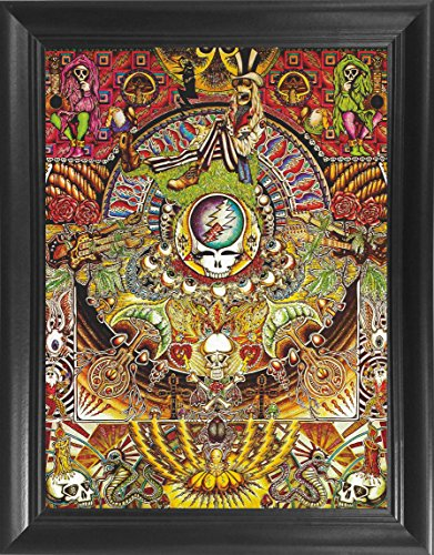 Grateful Dead Poster Framed 3D Wall Art Collage – Psychedelic Vintage Rock Band 3D Lenticular Posters –14.5x18.5