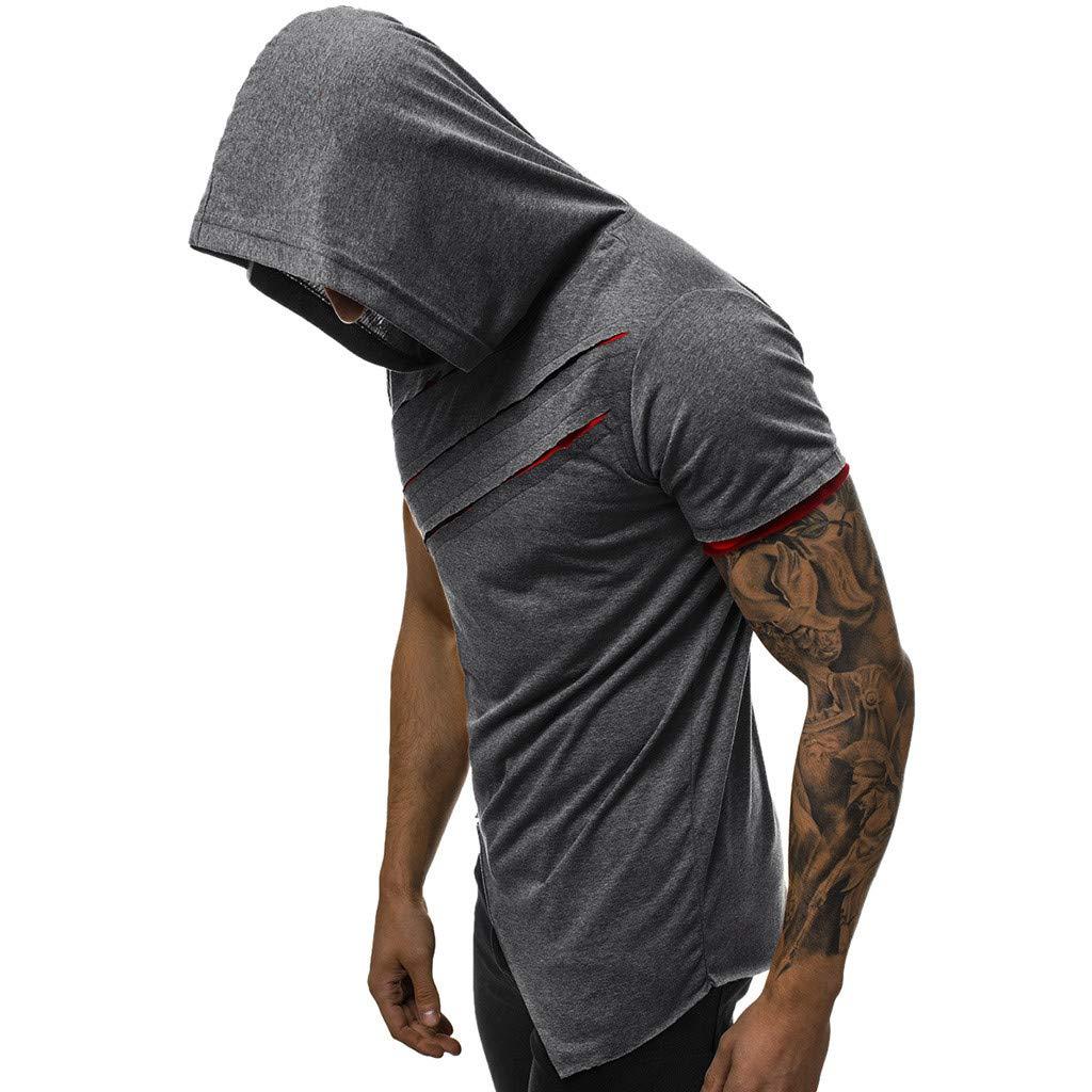 BELLA HXR Felpe Manica Corta con Cappuccio personalit/à Magliette Uomo Particolari Estive per Moda Uomo e Ragazzo