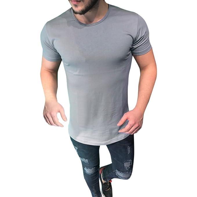 Kinlene Camisa Casual para Hombre con Cuello Redondo y Blusa con Cuello Redondo Camiseta de Manga Corta Tops musculosos: Amazon.es: Ropa y accesorios