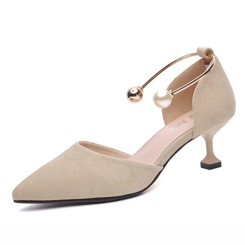 HWF レディースシューズ ハイヒール女性の女性の靴春の尖った浅い口の靴 ( 色 : Apricot color , サイズ さいず : 40 ) B07BJZH979 40|Apricot color Apricot color 40