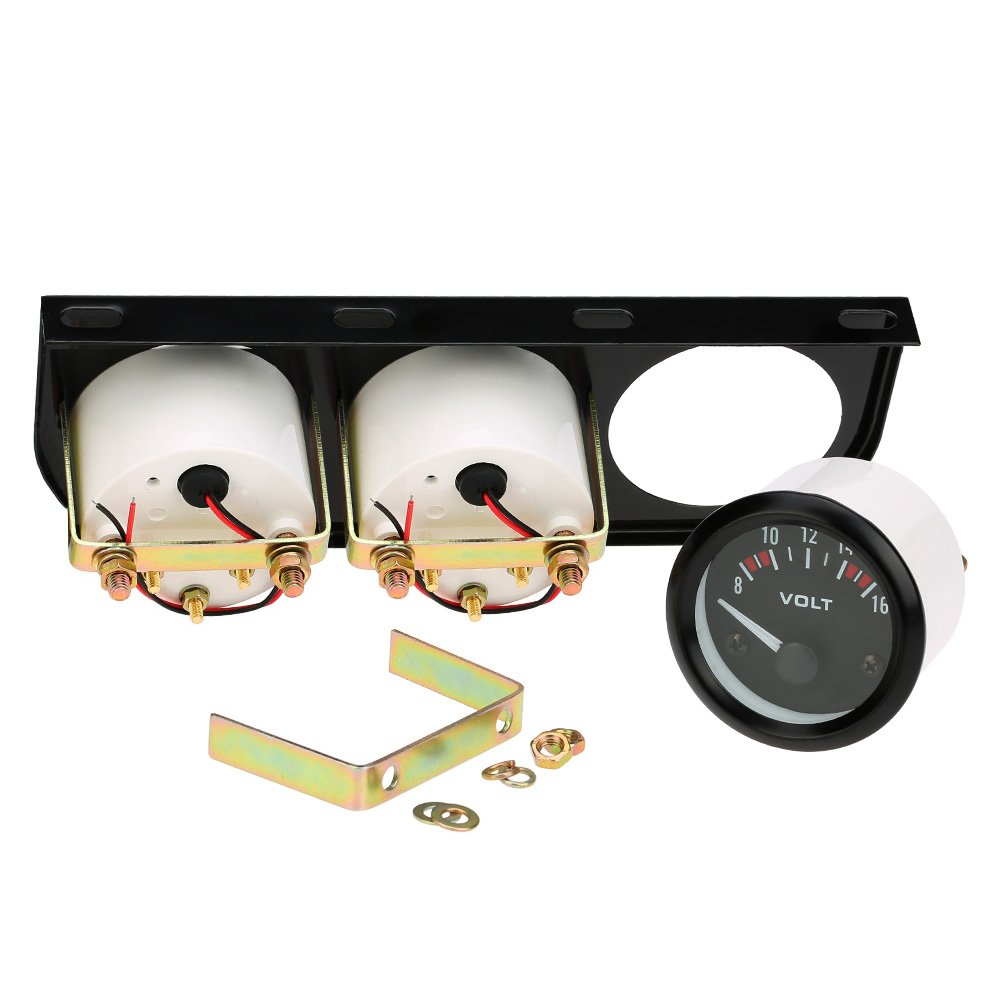 KKmoon 52mm Electronic Triple Gauge Kit Oil Pressure Water Temperature Gauge Voltmeter 3 in 1 Car Motorcycle Meter