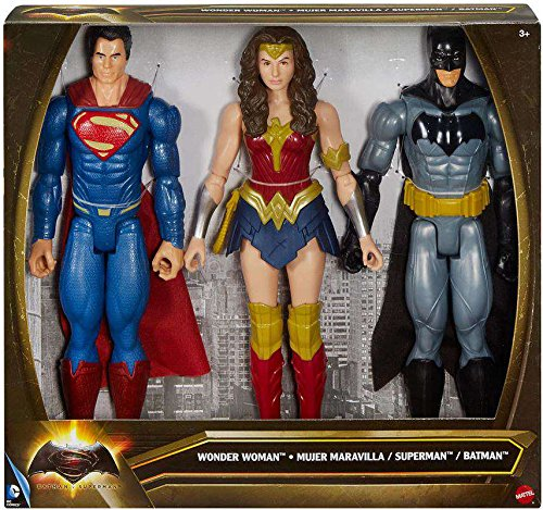 Batman v. Superman: 12 inch Superman Wonder Woman Batman Action Figure Set by DC Comics