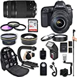 Canon EOS 5D Mark IV DSLR Camera + Canon EF 24-105mm f/4L IS II USM Lens + Canon EF 75-300mm f/4-5.6 III Lens + Fully Dedicated TTL Flash + 64Gb SDXC Card + 57 Inch Monopod (22 items kit)