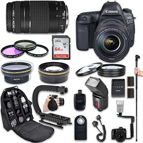 Canon EOS 5D Mark IV DSLR Camera + Canon EF 24-105mm f/4L IS II USM Lens + Canon EF 75-300mm f/4-5.6 III Lens + Fully Dedicated TTL Flash + 64Gb SDXC Card + 57 Inch Monopod (22 items kit) (Canon 5d Mark Iii Flash Bracket)
