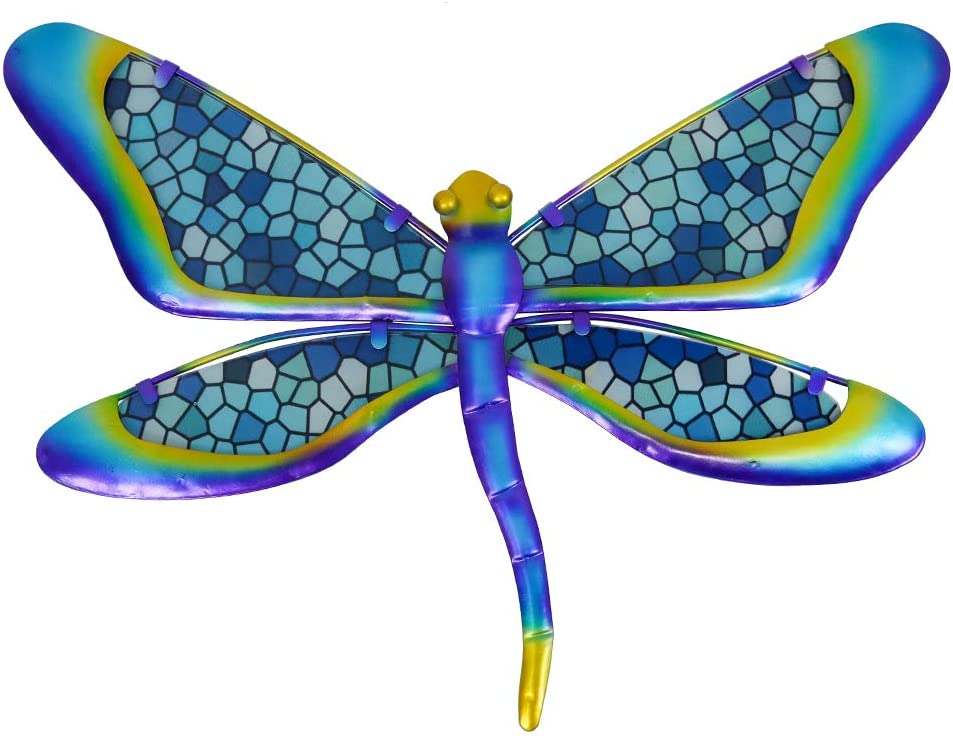 HONGLAND Metal Dragonfly Wall Decor Blue Mosaic Glass Art Sculpture Hanging Decorations for Home, Garden, Bedroom, Indoor, Outdoor