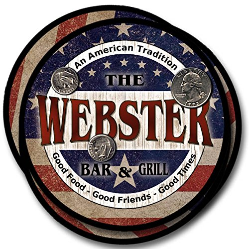 Webster Bar and Grill Rubber Drink Coasters - 4 Pack (Coasters Webster)
