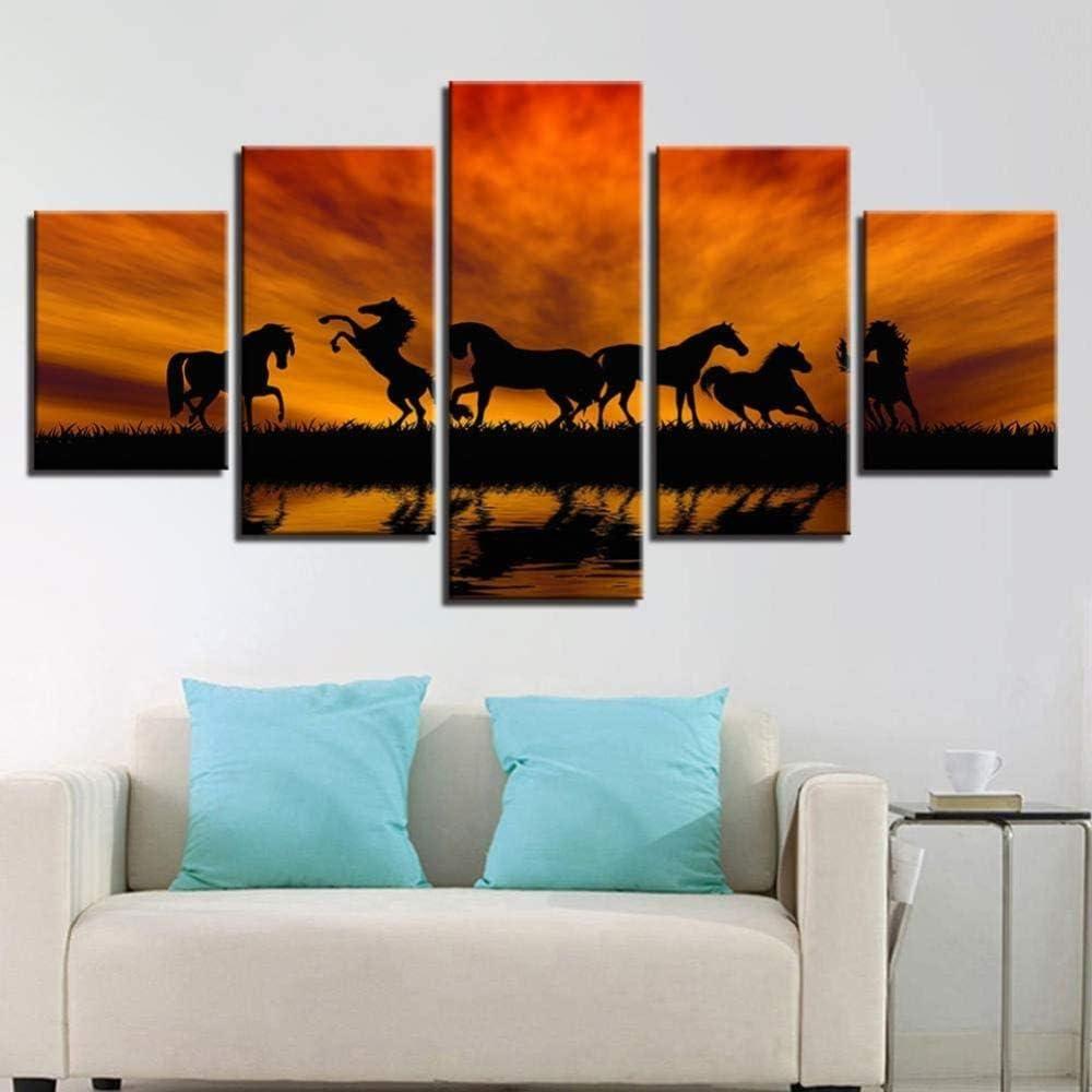 bnkrtopsu 5 Cuadro en Lienzo 5 Fotos Juntas en una Sala de Estar Dormitorio Creativo murales Decorativos y Carteles(Sin Marco) Silueta del Atardecer del Caballo Feliz del Lago