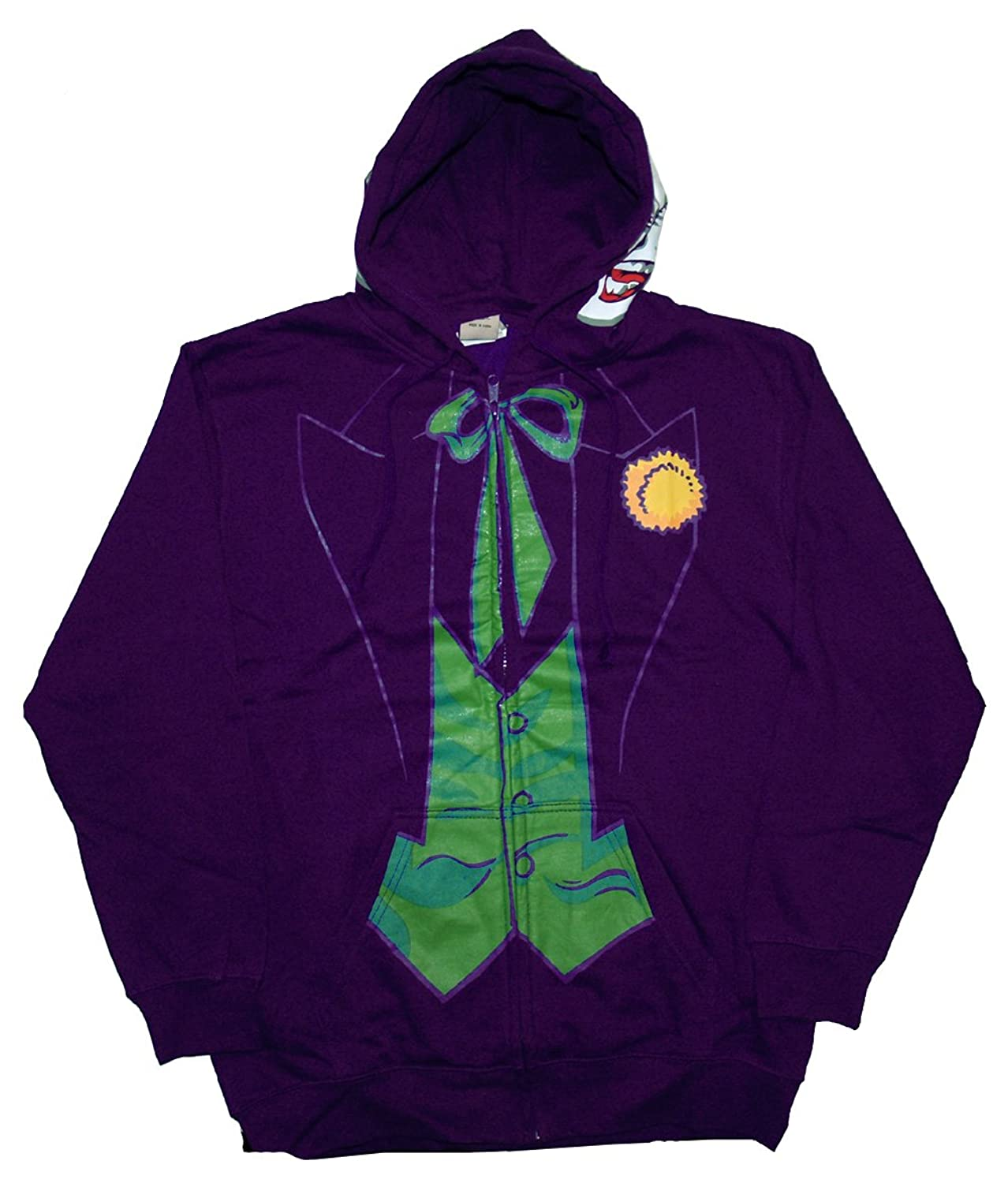 Amazon.com: Mens DC Comics The Joker Costume Hoodie S Purple: Clothing