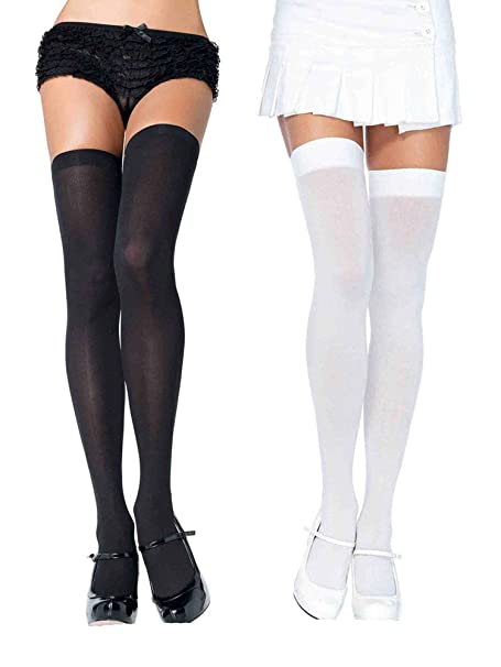 e0418dd7fbe7e Amazon.com: Womens Opaque Nylon Stockings Sheer Black and White Thigh High  Hosiery: Clothing