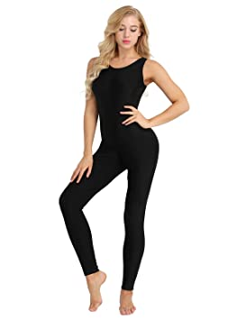 c2aad935ea56 Freebily Womens Sleeveless Scoop Neck Tank Unitard Jumpsuit Bodysuit Yoga  Dance Leotard Costume Black S