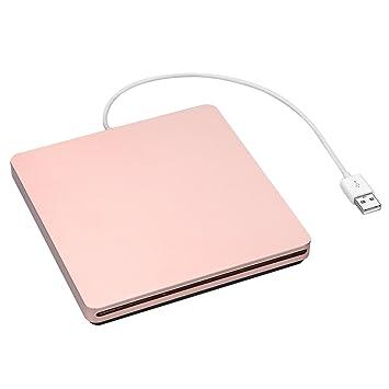 Superunidad grabadora de CD DVD regrabables Emmaky USB 2.0 ultradelgada, ranura externa para Apple MacBook