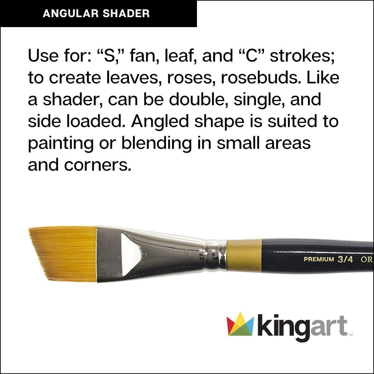 Size 5//8 Black//Gold Golden Taklon Angular Shader KINGART 9400-5//8 Original 9400 Series