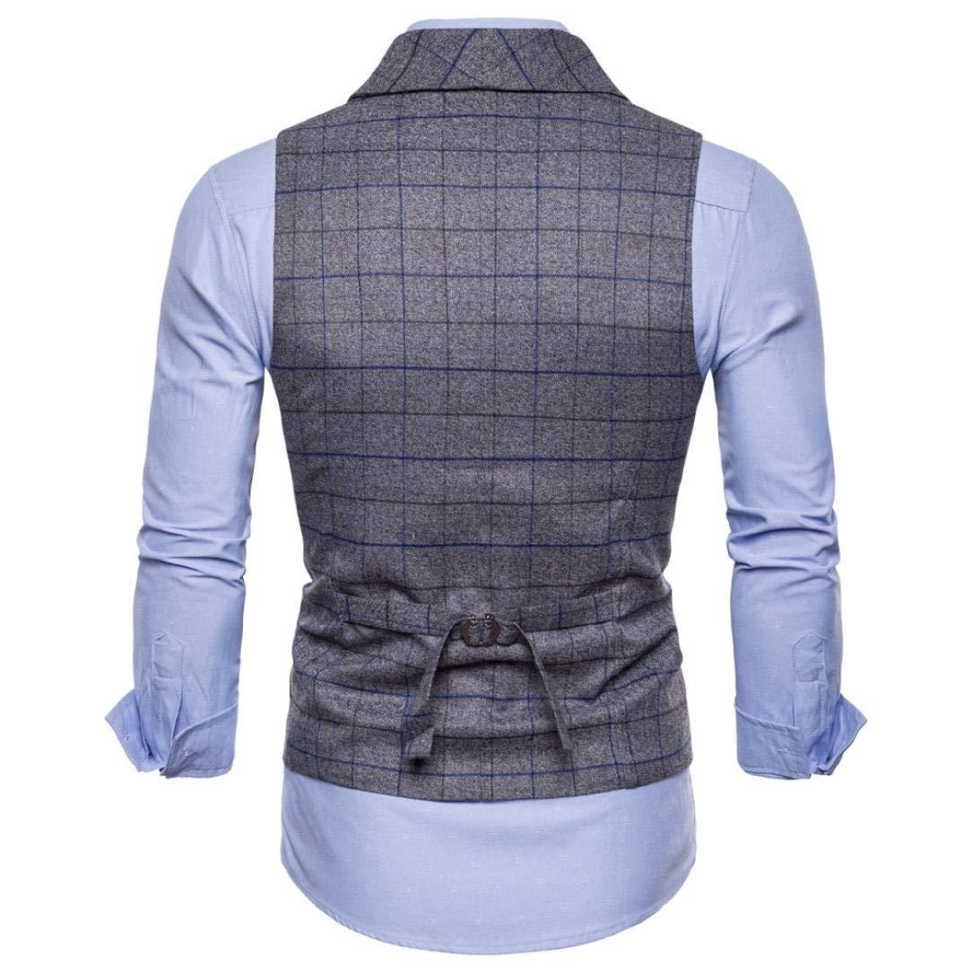 iLXHD Casual Men Plaid Printed Sleeveless Jacket Coat Suit Vest Blouse by iLXHD (Image #4)