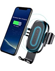 Qi Wireless Car Charger,Baseus Qi Fast Wireless Charger Gravity Car Mount Air Vent Phone Holder for Samsung Galaxy S8 S9 Plus,Note 8,Standard Charge for iPhone X,8/8 Plus,Qi Enabled Devices (Black)