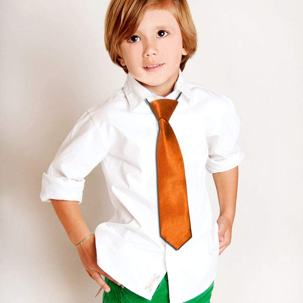 CellDeal-Satin Child Kids School Boy Wedding Elastic Neck Tie Dark Orange