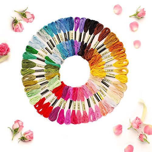 Losun Hand Embroidery Starter Kit, 50 Premium Rainbow Color Embroidery Floss, Craft Cross Stitch Threads Tool Including Magic Pen, Bamboo Embroidery Hoops for DIY Sewing Knitting Knit Crochet