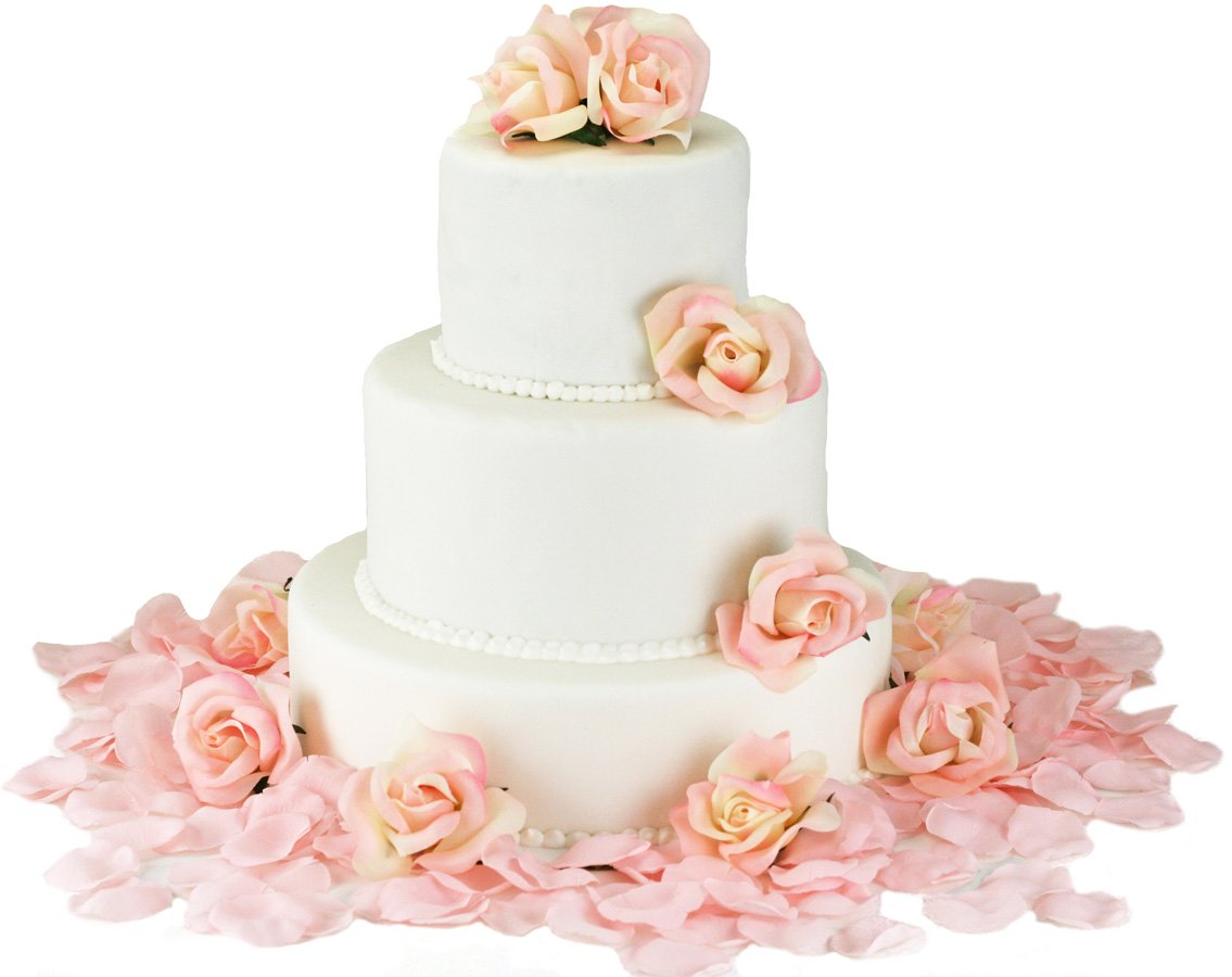 Pink Silk Rose Cake Flowers - Reception Decoration by TheBridesBouquet.com (Image #1)